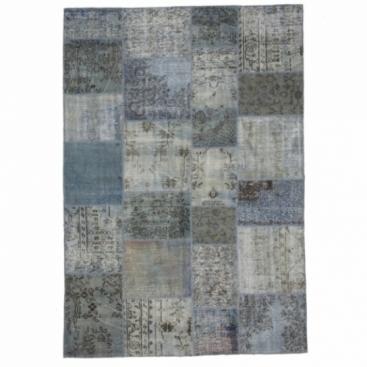 Gris bleu vintage tapis de patchwork 210x303cm for Couleur gris bleu