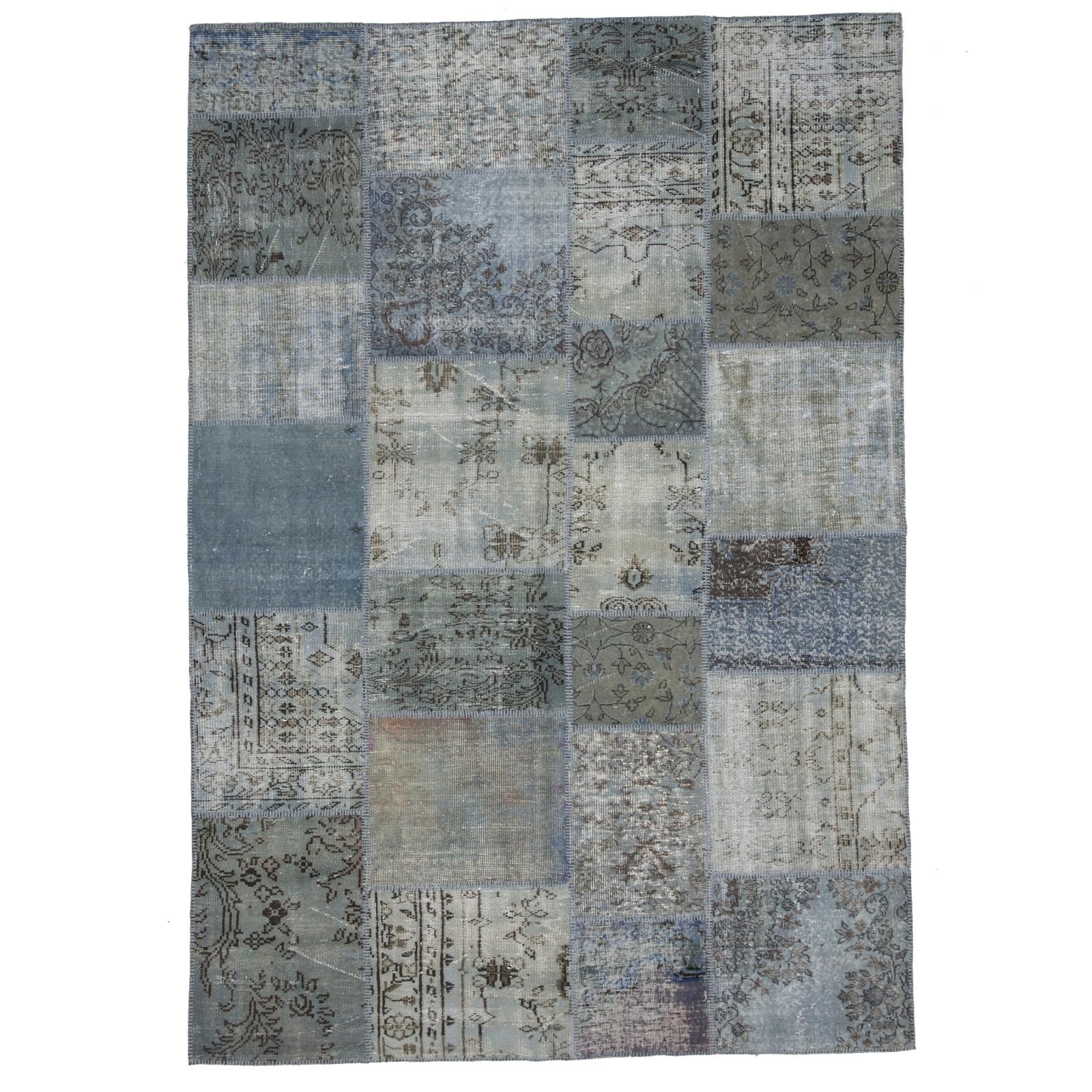 vintage alfombra retazos color azul gris 210x303cm - Alfombra Gris