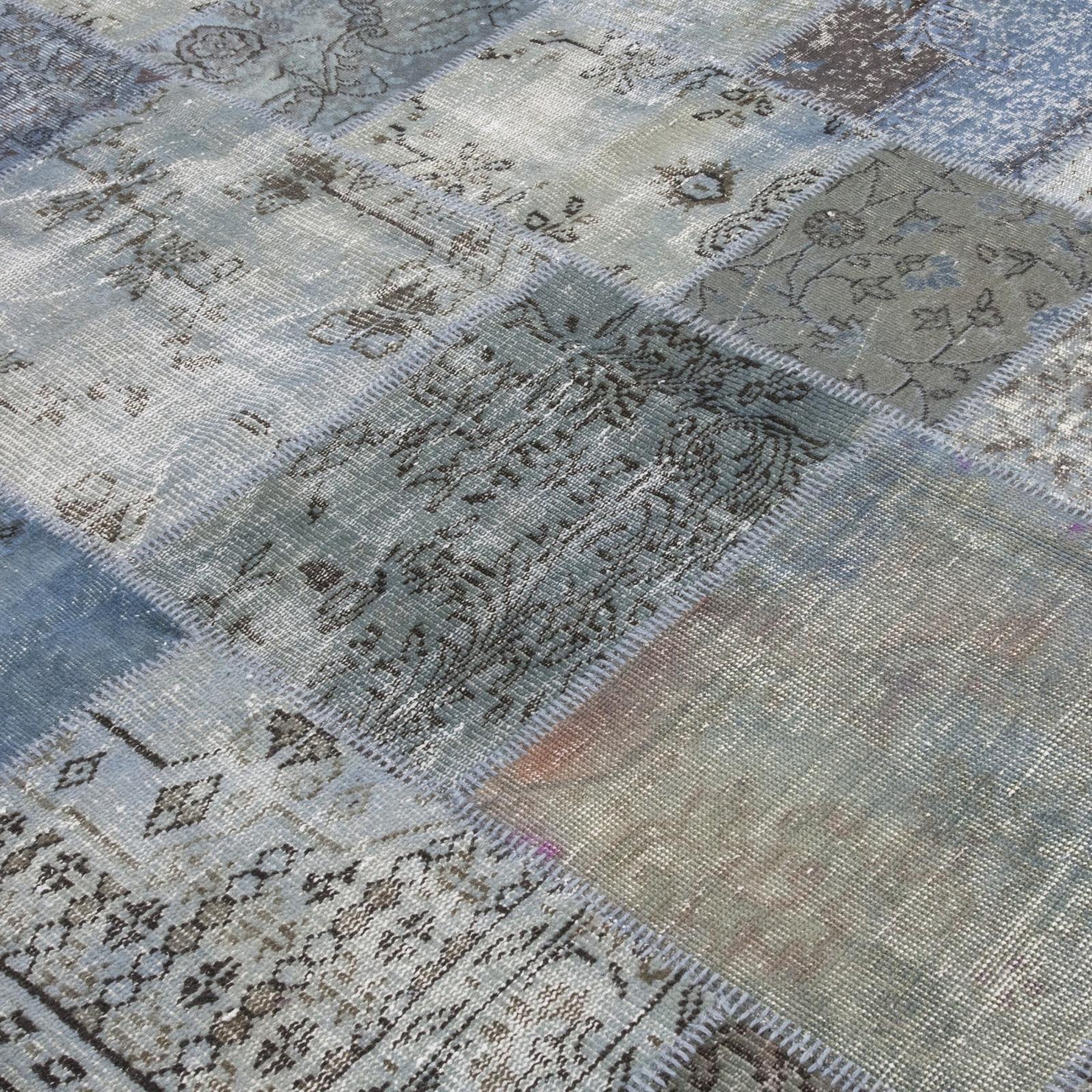 vintage alfombra retazos color azul gris xcm