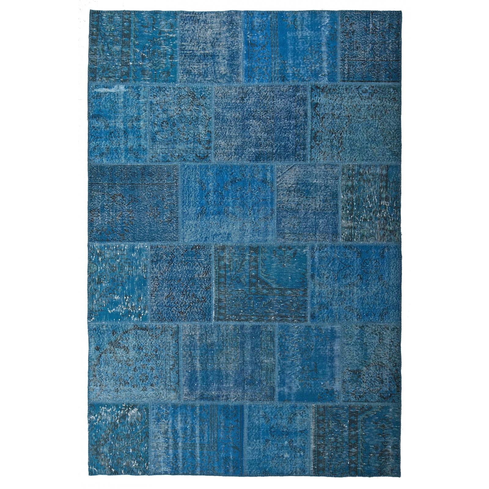 Flickenteppich blau  Blau vintage patchwork flicken teppich (200x300cm)