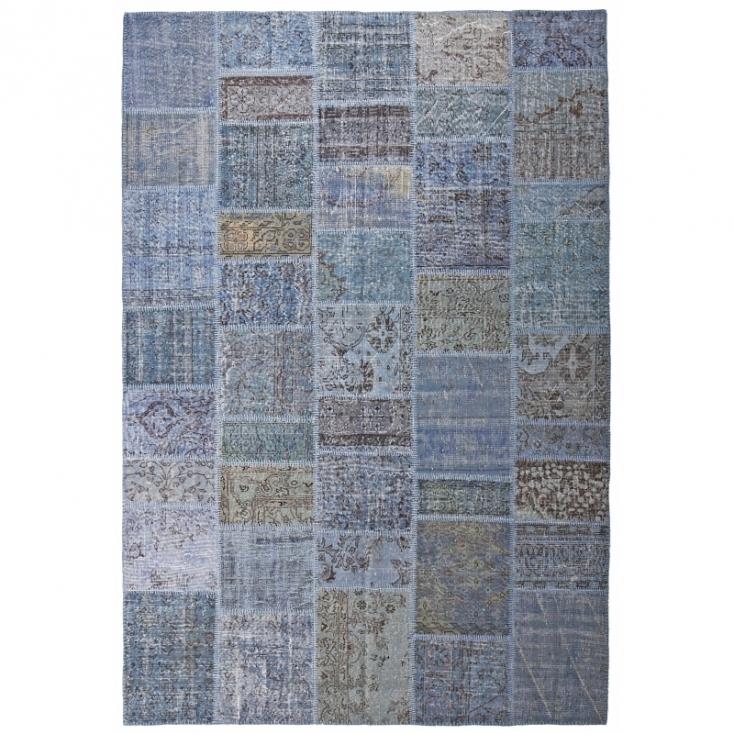 Blau Vintage Patchwork Flicken Teppich 200x300cm