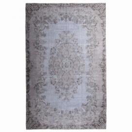 Vintage recoloured rug color blue (185x298cm)