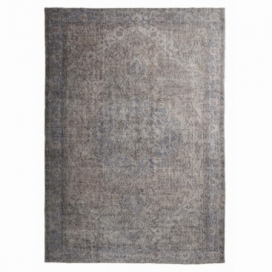 Vintage recoloured rug color grey (198x290cm)