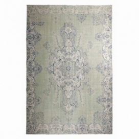 Vintage recoloured rug color green (216x331cm)