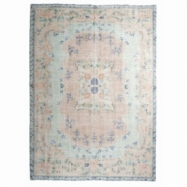 Vintage recoloured rug color green blue (196x274cm)